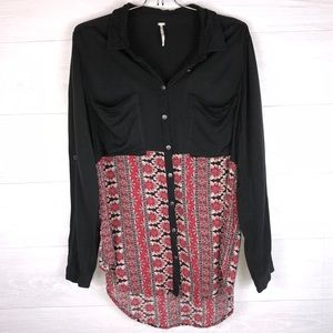 Free People Women's M Black Floral Red Button down